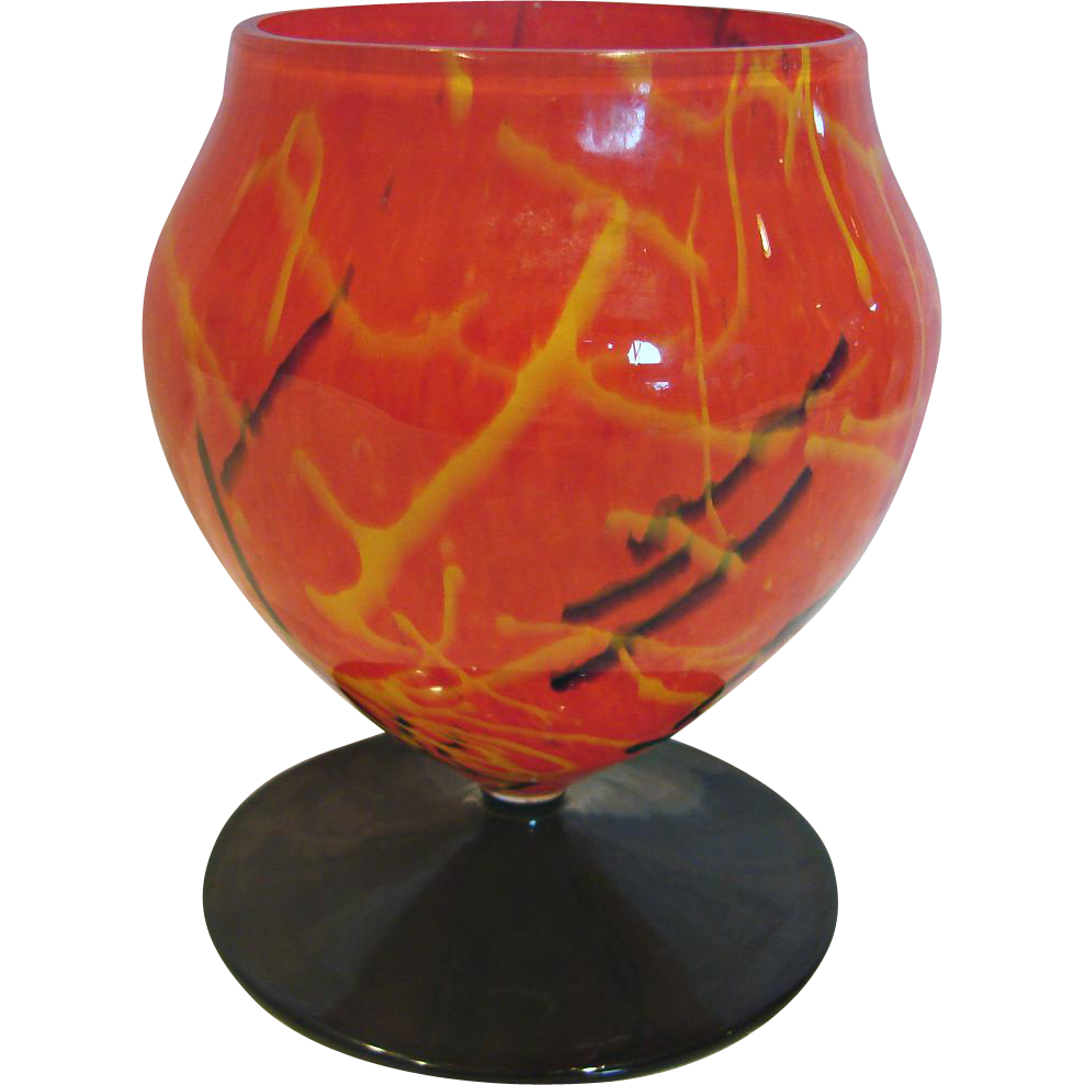 Bohemian Czech Art Glass Vase Orange Spatter W Black Yellow Lines From Darcysantiquetreasures On