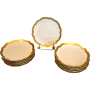 """French Limoges Set 11 7"""" Coupe Plates White w Gold Design Borders c 1903 - 1917"""