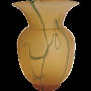 Bohemian Czech Satin Honey Amber Art Glass Vase w Green Threads c 1900 - 1940