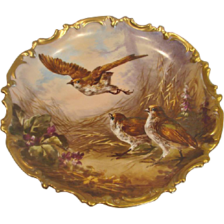 """French Limoges 13"""" Wall Plaque Charger Artist Painted Signed Dubois Birds Quails c 1890 - 1920"""