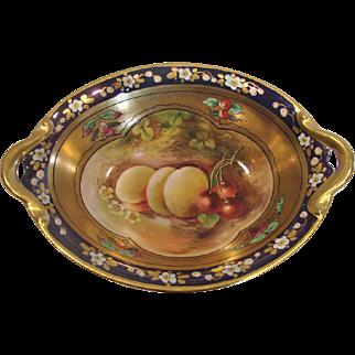 American Pickard Relish Dish Artist Signed Yeschek Hand Painted Fruit c 1912 - 1918