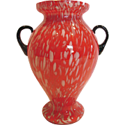 "Bohemian Czech 10"" Art Glass Vase Red w White Streaks Black Handles Signed c 1930"