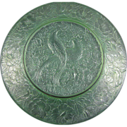 Consolidated Glass Martele Green Wash Bird of Paradise Charger  (c.1920's)