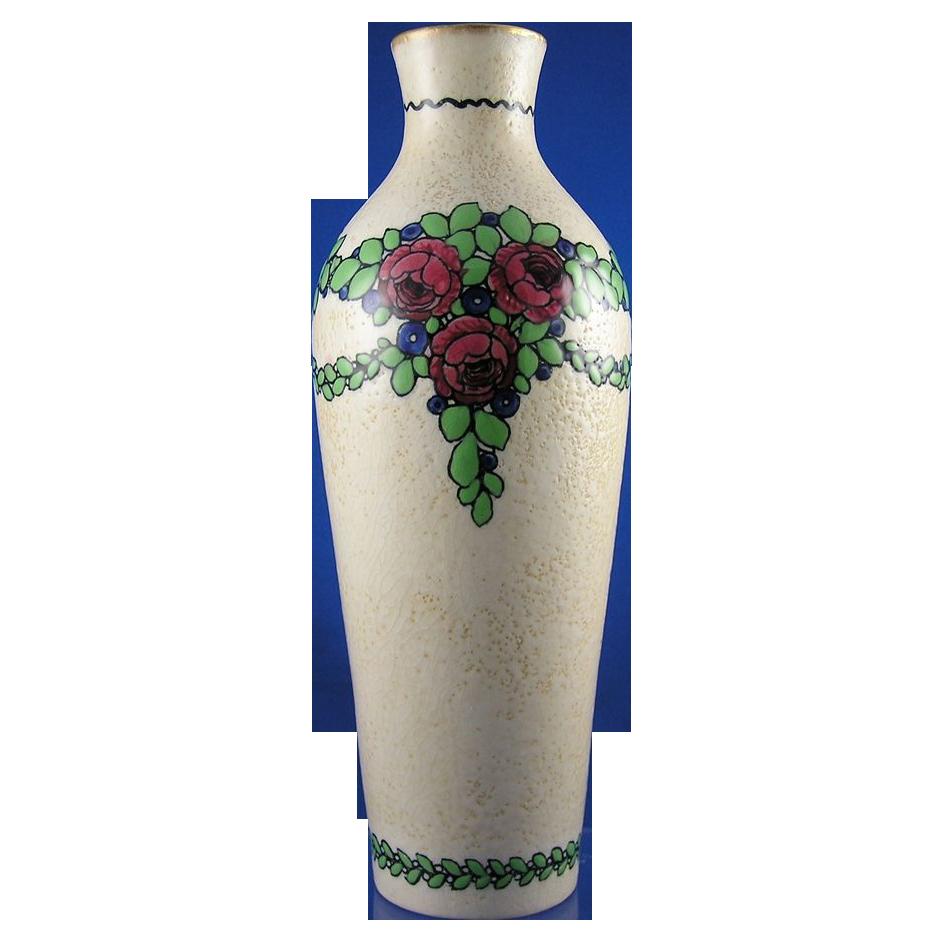 Ernst Wahliss Turn Vienna Amphora Art Nouveau Floral Garland Vase (c.1899-1918)