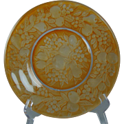 "Consolidated Glass Martele ""Five Fruits"" Design Orange Wash Plate (c.1920's)"