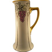 Tall William Guerin (WG&Co)  Limoges Arts & Crafts Grape Motif  Pitcher (Signed/c.1900-1932)