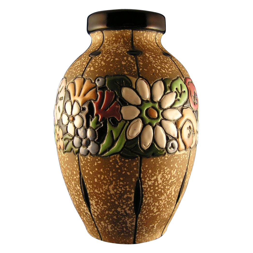 Austrian Amphora Arts & Crafts Floral Band Vase (c.1900-1905)