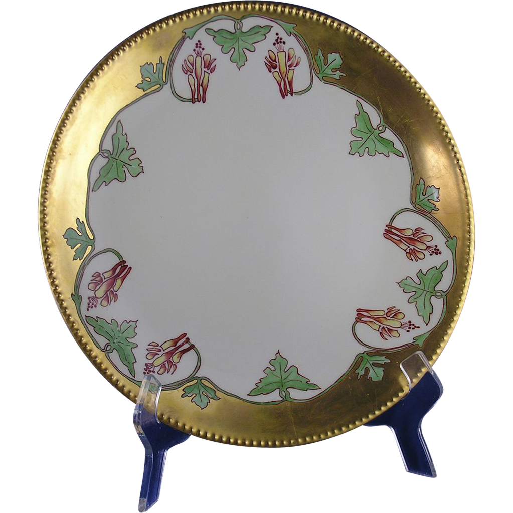 "Jean Pouyat (JP) Limoges Arts & Crafts Columbine Flower Motif Charger/Plate (Signed ""Lida Collins""/Dated 1911)"