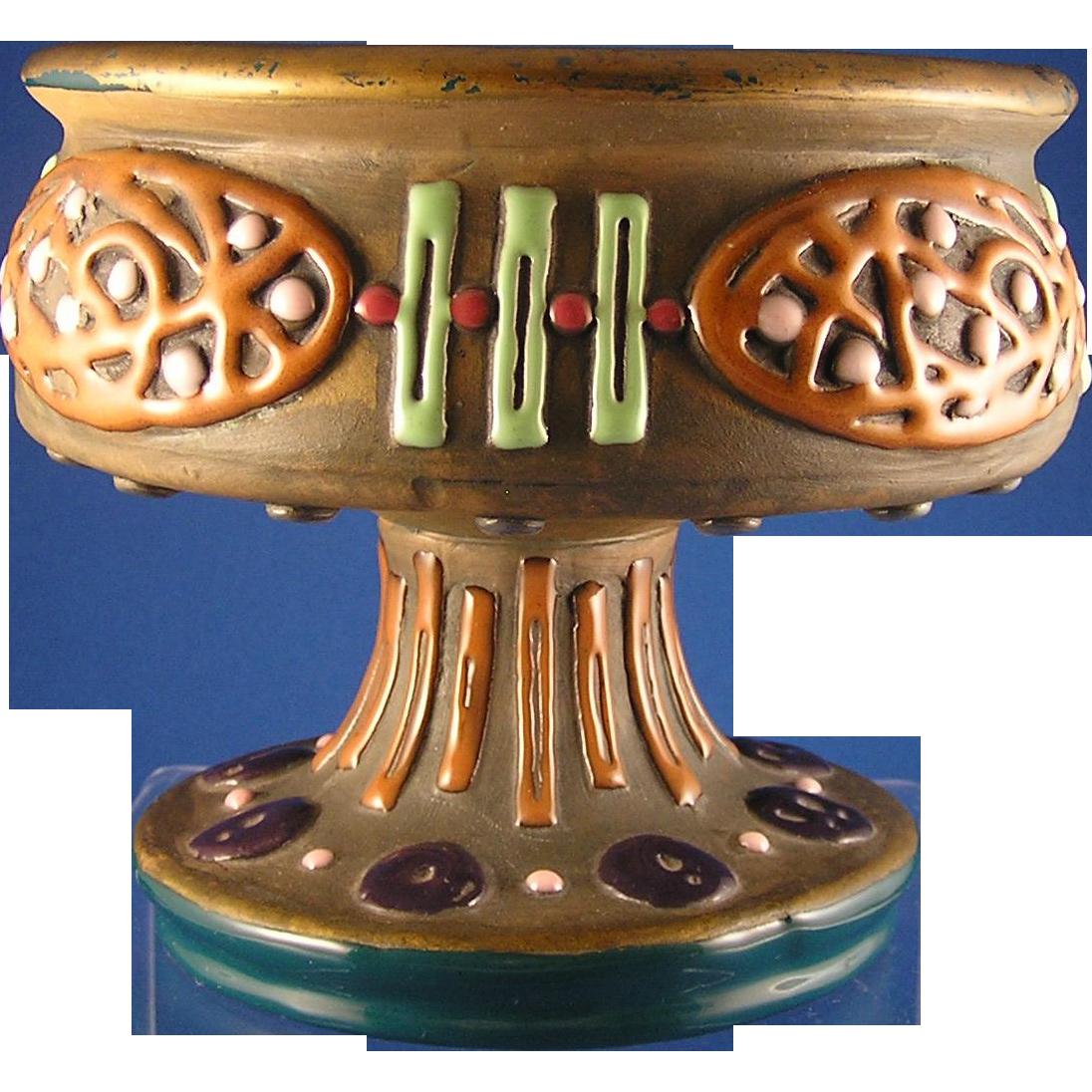 Austrian Amphora Arts & Crafts Enameled Design Centerpiece/Pedestal Dish (c.1900-1905)