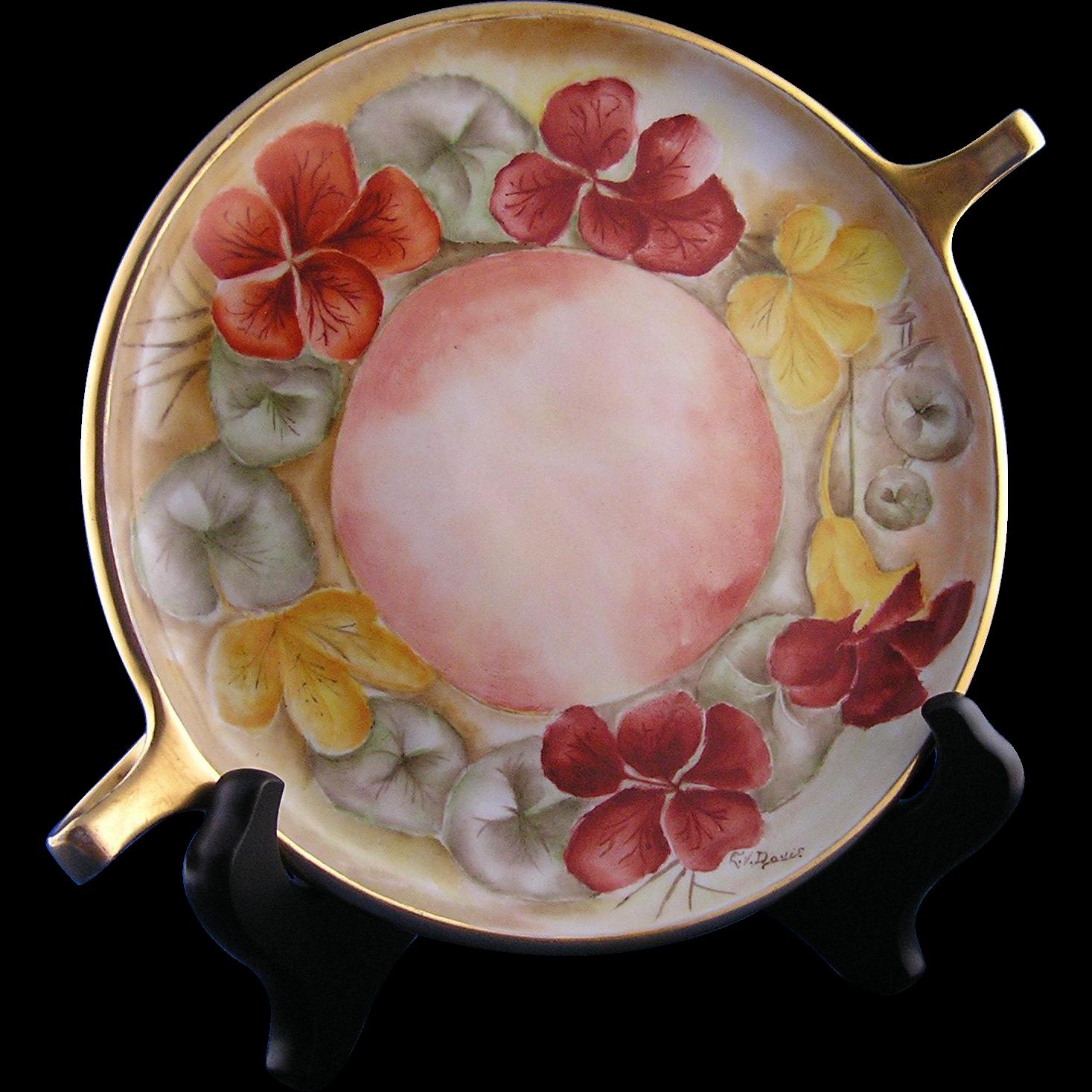 """Gerard, Dufraisseix & Abbott (GDA) Limoges Nasturtiums Motif Handled Serving Plate/Dish (Signed """"EV Davis""""/c.1900-1941)"""
