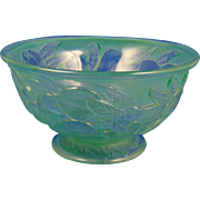 "Consolidated Glass Martele ""Five Fruits"" Design Green Wash Bowl (c.1920's)"