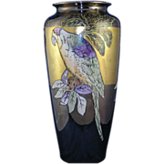 "Large T&V Limoges Arts & Crafts Lustre Parrot Motif Vase (Signed ""Boyer""/c.1892-1907)"