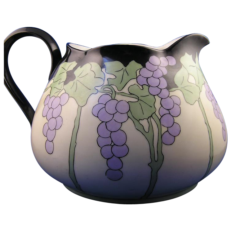 "Limoges 'Mark 6' Arts & Crafts Grape Motif Pitcher (Signed ""BMP""/Dated 1920)"