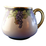 "Tressemann & Vogt (T&V) Limoges Grape Motif Pitcher (Signed ""B. Brian""/c.1892-1907)"