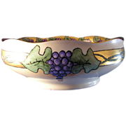 "Hermann Ohme Silesia Grape Motif Bowl (Signed ""EB""/Dated 1913)"