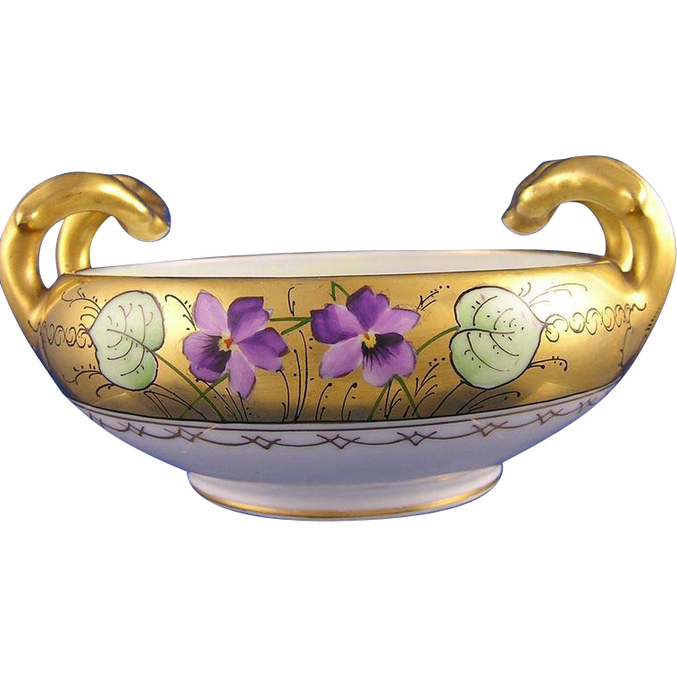 "Bavarian Handled Violet Motif Bowl Stouffer Artist ""Stens"" (Signed/c.1910-1940)"