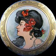 O&EG Austria Art Nouveau Mucha Portrait Motif Covered Dish/Dresser Jar (c.1899-1918)