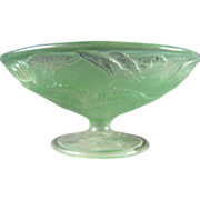 Consolidated Glass Martele Green Wash Fish Design Bowl (c.1920's)