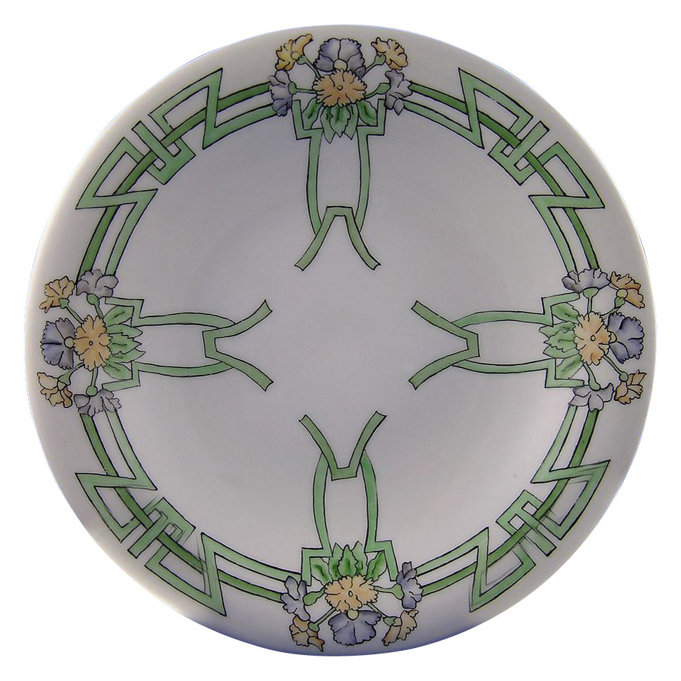 "Bavaria Art Deco Floral Motif Footed Dish (Signed ""Mary Barber""/Dated 1912)"