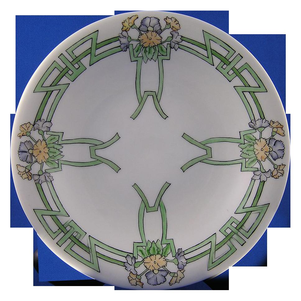bavaria art deco floral motif footed dish signed mary. Black Bedroom Furniture Sets. Home Design Ideas