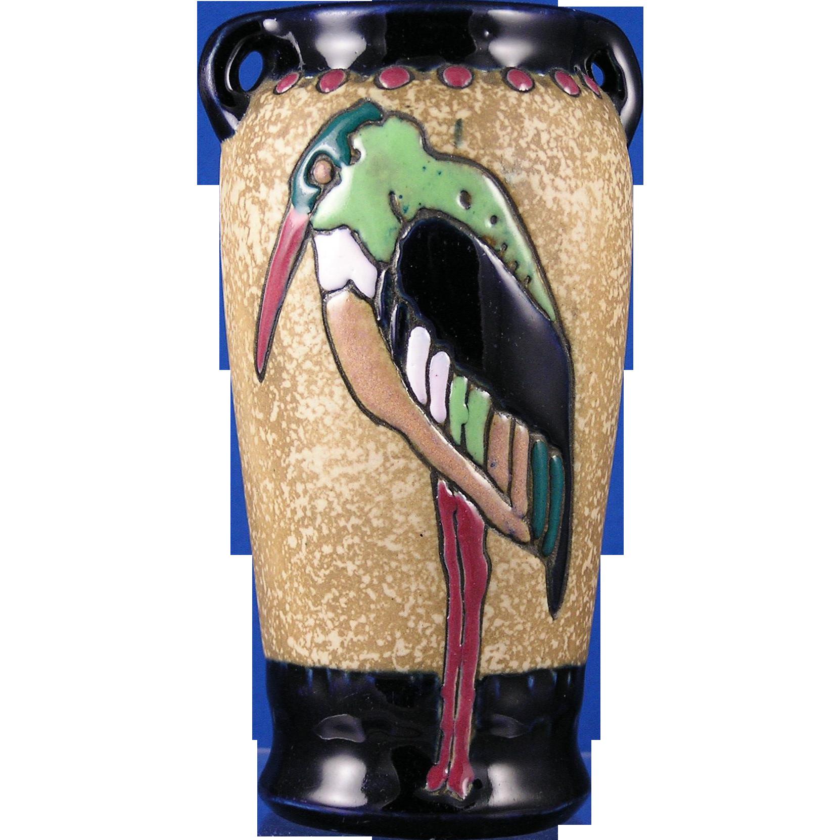 Amphora Austria Campina Arts & Crafts Stork Design Vase (c.1905-1910)