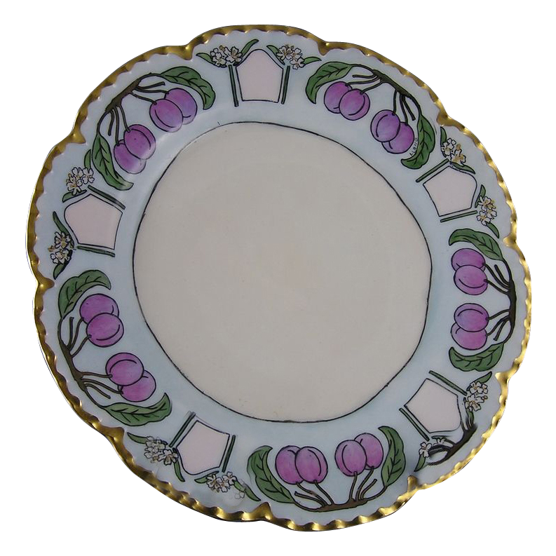 "Haviland Limoges Plum Motif Arts & Crafts Plate (Signed ""I. Lang""/c.1893-1930)"
