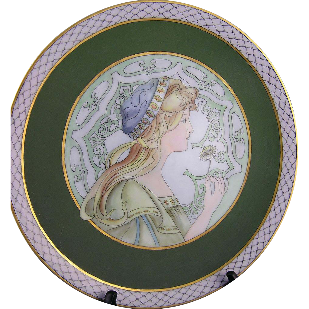 "RS (Reinhold Schlegelmilch) Silesia Art Nouveau ""Springtime"" Mucha Motif Plate (Signed ""Yvette Raymond Oubrem""/c.1904-1938)"