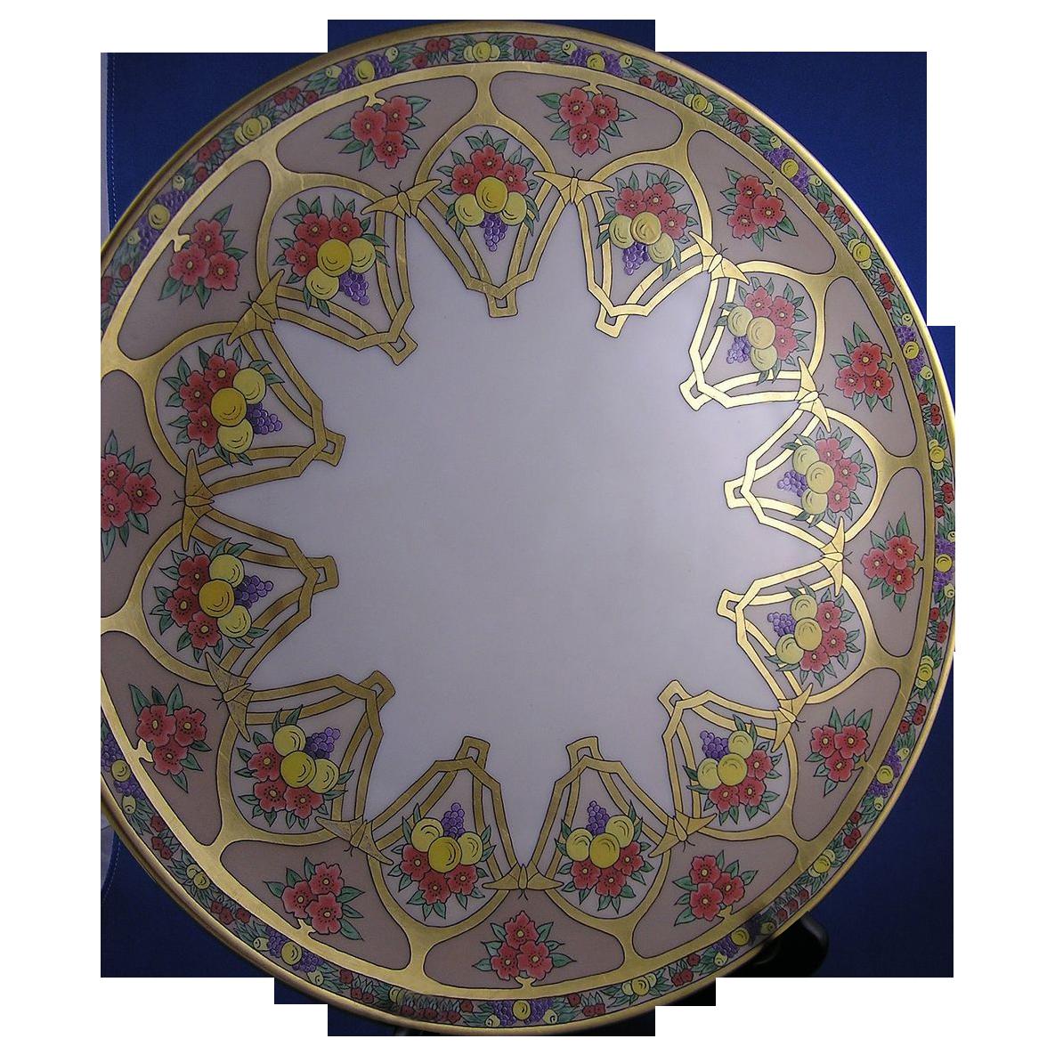 "Rosenthal Selb Bavaria Arts & Crafts Fruit & Floral Atlan Club Design Charger (Signed ""Bessie M. Lindsey""/Dated 1917)"