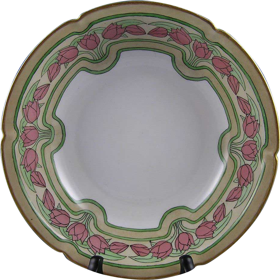 "Pfeiffer & Lowenstein (P&L) Austria Arts & Crafts Tulip Motif Bowl (Signed ""Bessie M. Lindsey""/Dated 1909)"