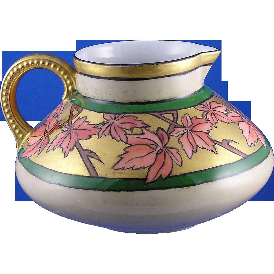 Jean Pouyat (JP) Limoges Arts & Crafts Maple Leaf Motif Pitcher (c.1890-1932)