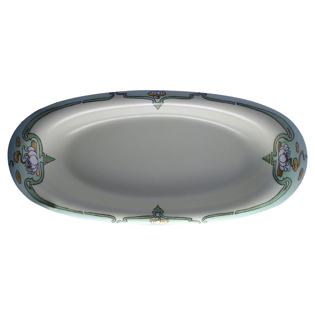 "Bernardaud & Co. (B&Co) Limoges Art Nouveau Lotus Blossom Serving Dish (Signed ""Anne Lagrow""/Dated 1927)"