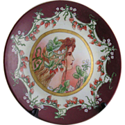 "Delinieres & Co. (D&C) Limoges Art Nouveau ""Privat Livemont Strawberry Woman"" Motif Plate (c.1900-1920) - Keramic Studio Design"