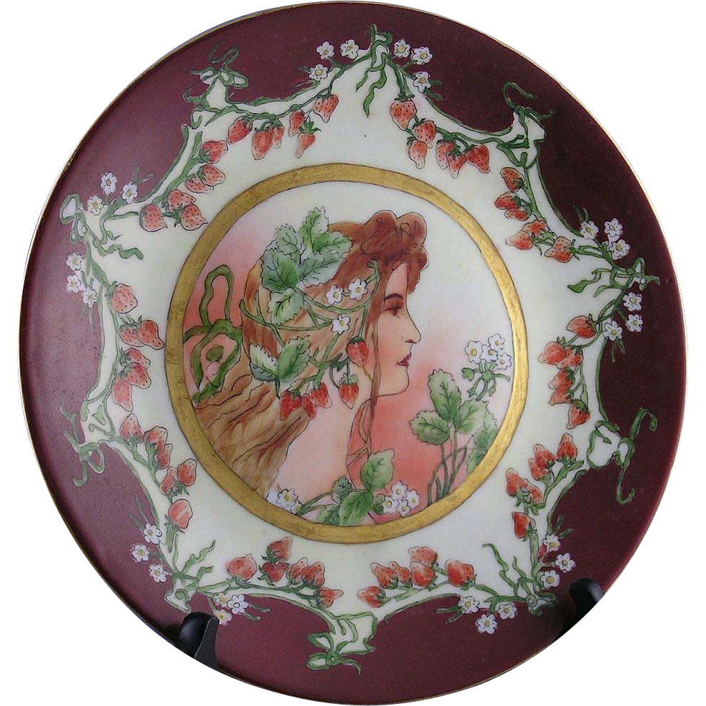 "Delinieres & Co. (D&C) Limoges Art Nouveau ""Privat Livemont Strawberry Woman"" Motif Plate (c.1894-1900)"