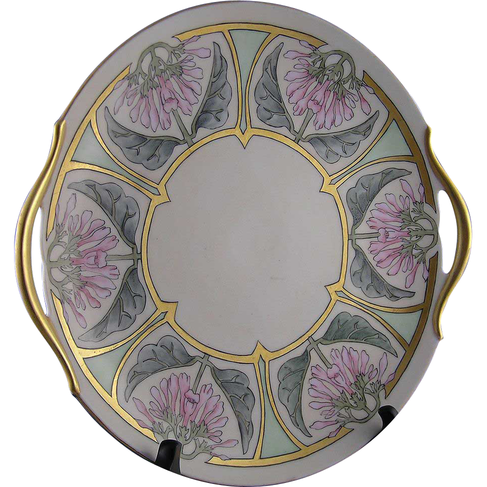 PH Leonard Austria Arts & Crafts Floral Motif Handled Serving Plate (Signed/c.1912-1920) - Keramic Studio Design