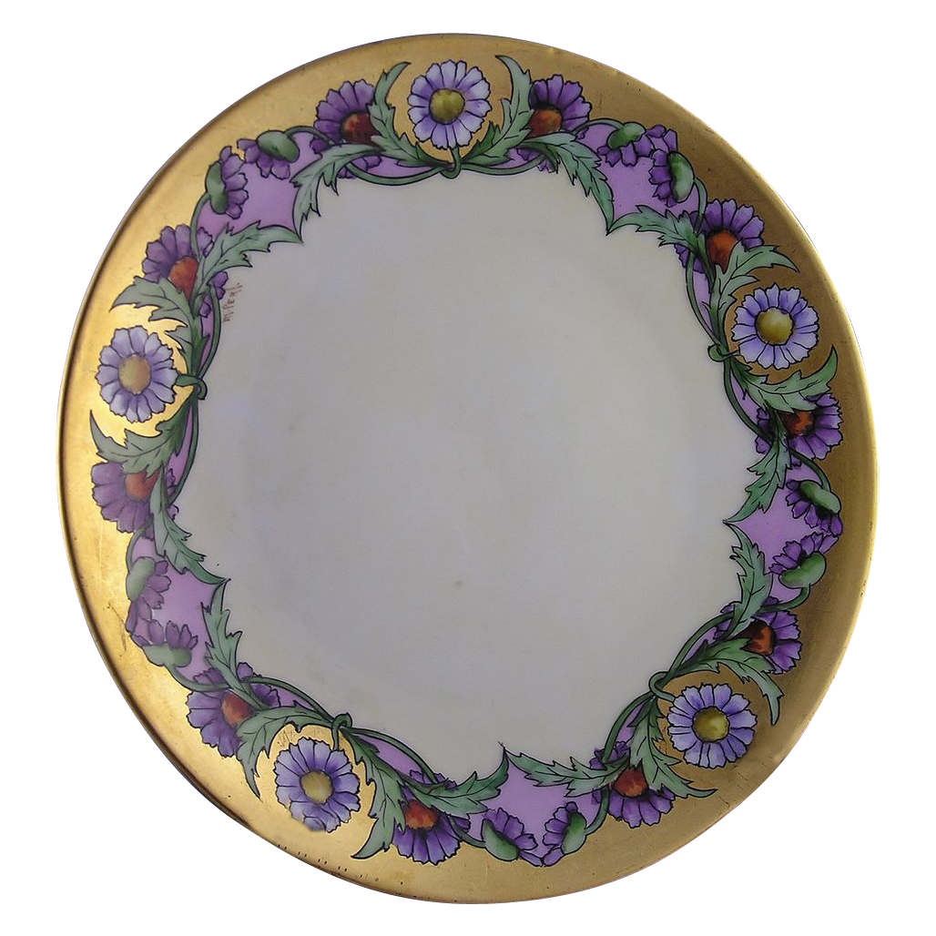 "Bavaria Arts & Crafts Purple Aster Motif Plate (Signed ""M. Perl""/c.1910-1930)"
