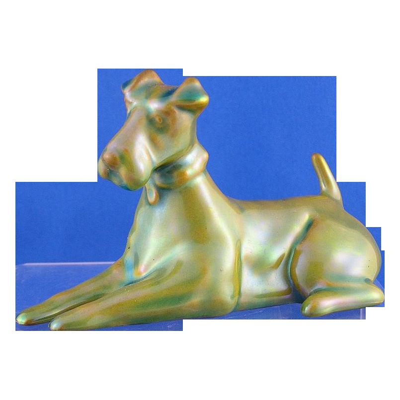 Zsolnay Hungary Eosin Terrier Figurine (c.1920-1940)