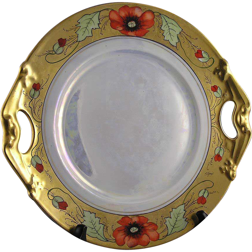 "Bernardaud & Co. (B&Co) Limoges Poppy Motif Serving Plate (Signed by Stouffer Artist ""Stens""/c.1900-1914)"