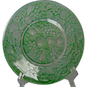 "Consolidated Glass Martele ""Five Fruits"" Design Green Wash Plate (c.1920's)"