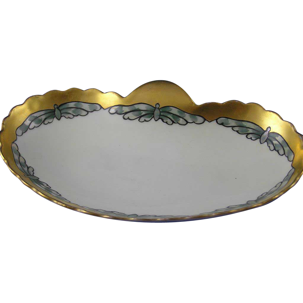 "Oscar & Edgar Gutherz (O&EG) Austria Butterfly Motif Arts & Crafts Dish (Signed ""F. M. Stoddard""/Dated 1915) - Keramic Studio Design"