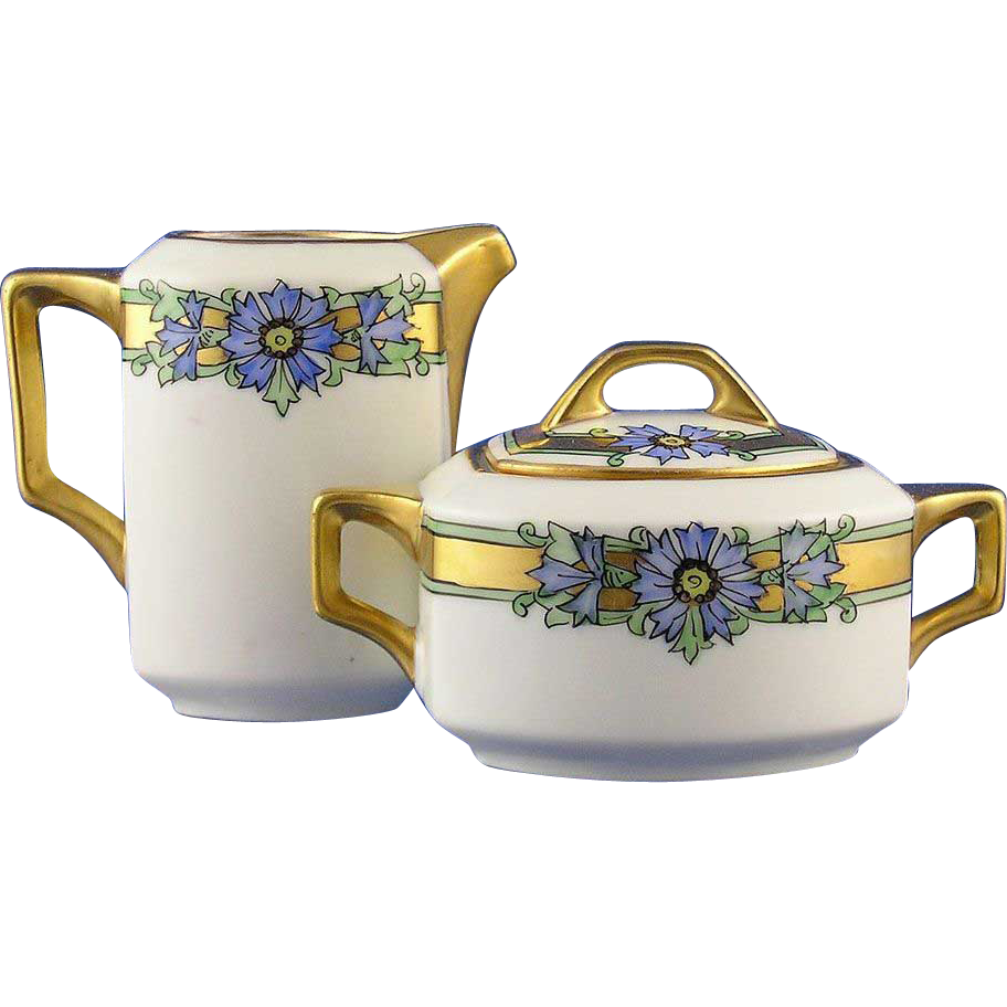 Stouffer Studios Art Deco Floral Motif Creamer & Sugar Set (c.1910-1930)