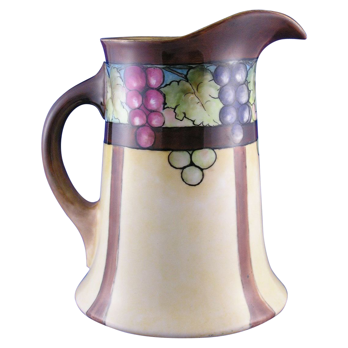 "William Guerin & Co. (WG&Co.) Limoges Arts & Crafts Grape Motif Pitcher (Signed ""LeHuranns""/c.1900-1932)"