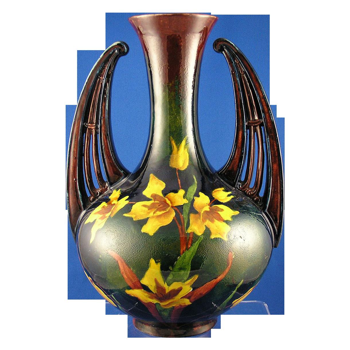 Old Moravian Austria Arts & Crafts Handled Daffodil Vase (c.1899-1918)