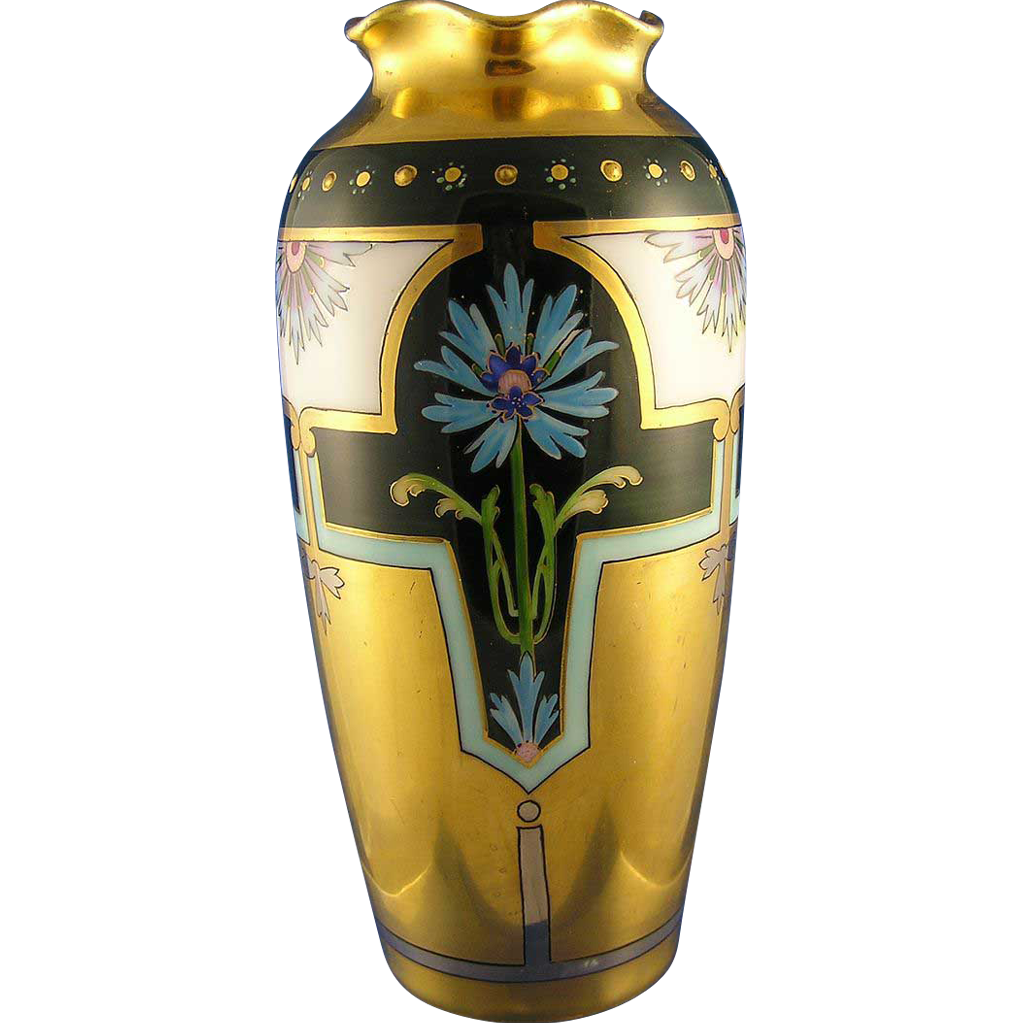 "Pfeiffer & Lowenstein (P&L) Imperial Austria Osboune Art Studio Blue Floral Motif Vase (Signed ""Osborne""/c.1917-1924)"