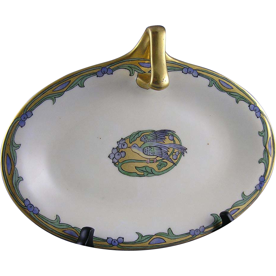 Paroutaud Freres (P&P) Limoges Blue Bird Motif Handled Dish (Signed/Dated 1913)