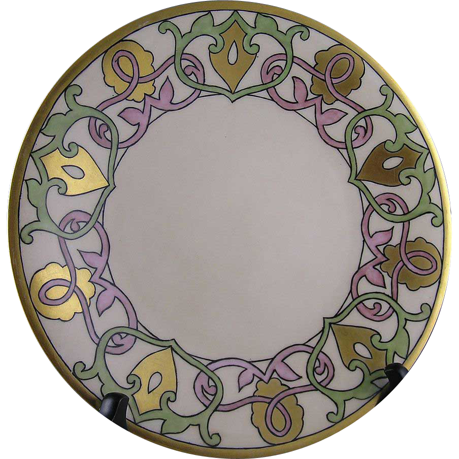 "William Guerin & Co. (WG&Co) Limoges Arts & Crafts Plate (Signed ""CSC""/Dated 1916)"
