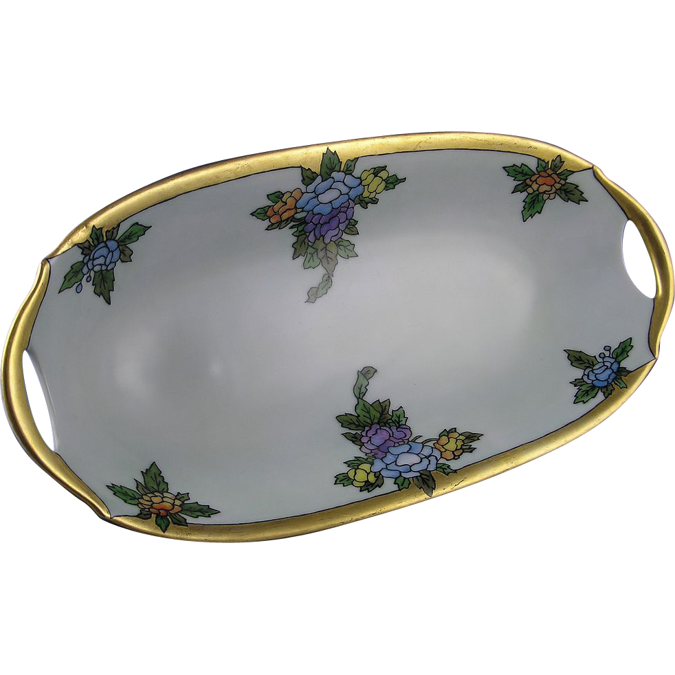 "Porzellanfabrik Moschendorf (PM) Bavaria Art Deco Floral Serving Dish (Signed ""Chris D.""/c.1895-1908)"