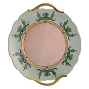 """Paroutaud Freres (P&P) Limoges Arts & Crafts Handled Plate (Signed """"B. Bowser""""/c.1903-1917)"""