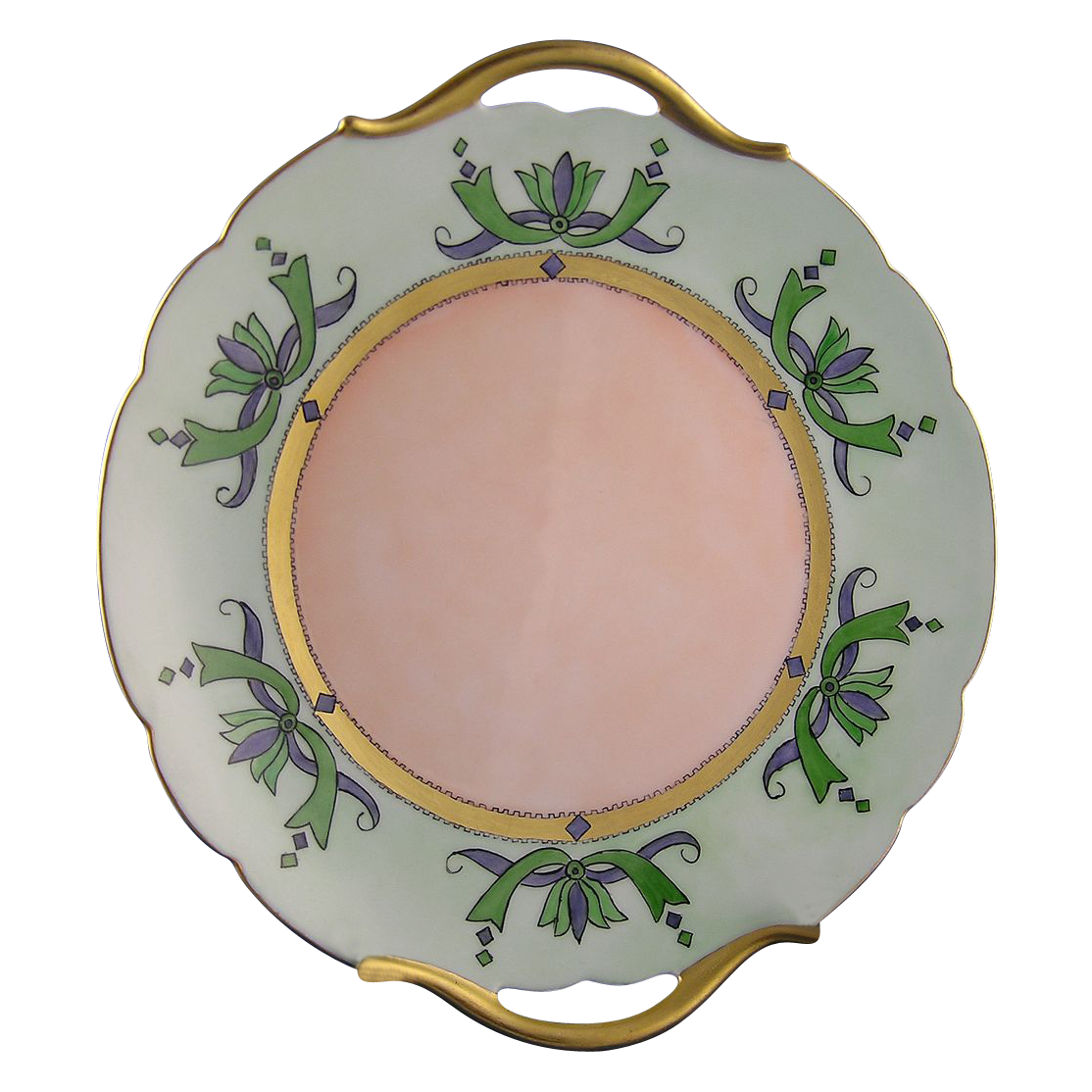 "Paroutaud Freres (P&P) Limoges Arts & Crafts Handled Plate (Signed ""B. Bowser""/c.1903-1917)"