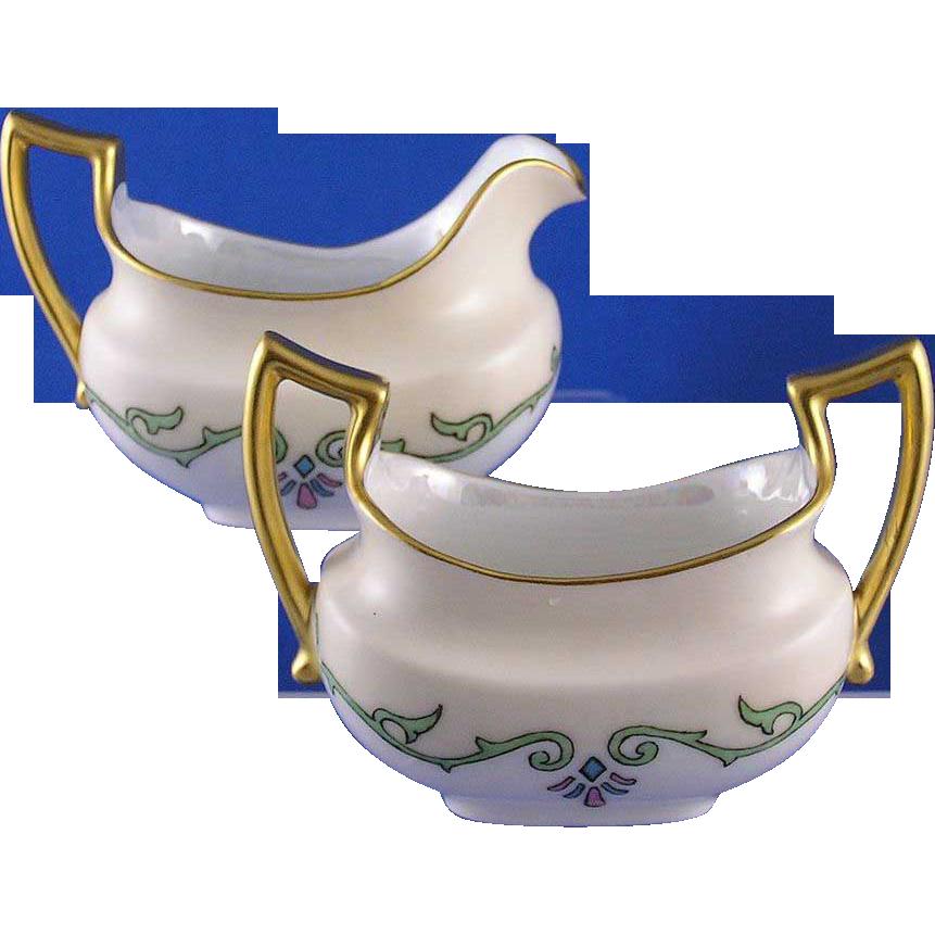 "Pfeiffer & Lowenstein (P&L) Imperial Austria Sugar & Creamer Set (Signed ""Eva McFadden""/c.1914-1918)"