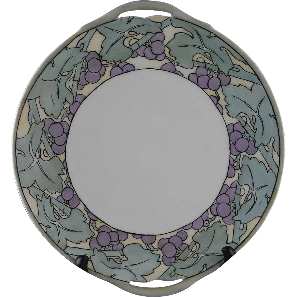 Delinieres & Co. (D&Co.) Limoges Arts & Crafts Grape Motif Handled Plate (c.1894-1900)